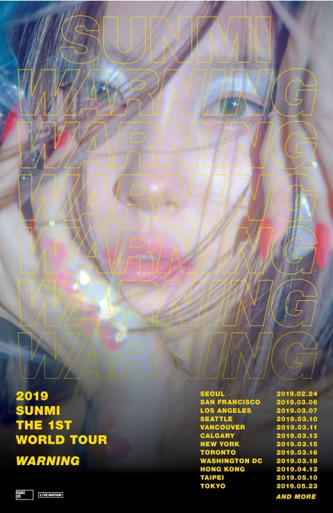Sunmi will launch her first solo world tour \\\'2019 SUNMI THE 1ST WORLD TOUR [WARNING]\\\'.